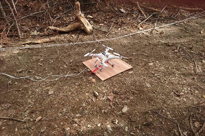 ドローンを用い木材伐採現場線作業で実証実験(1枚目)