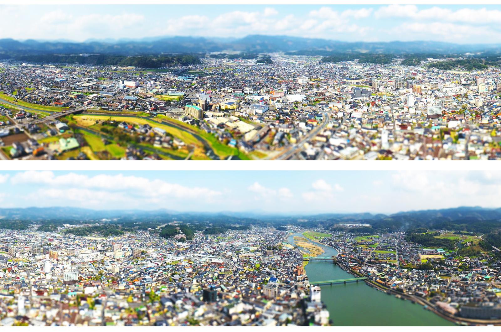 日田市の空撮画像-パノラマ-ジオラマ風レタッチ-ドローン